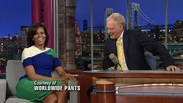 Michelle Obama and David Letterman on The Late Show With David Letterman