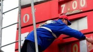 A worker changes the price signboard at a petrol station in central China