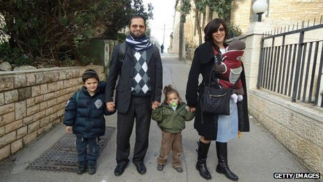 Jonathan Sandler with his sons Arieh (left) and Gabriel (right), and his wife Eva and baby daughter, in an undated image  