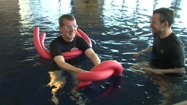 Frank Skinner in a swimming pool
