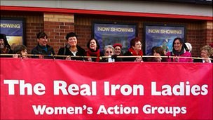 The Real Iron Ladies picket a Chesterfield cinema