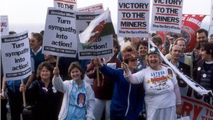 Miners' strike demonstrators in 1984