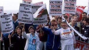 Miners' strike demonstrators in 1984