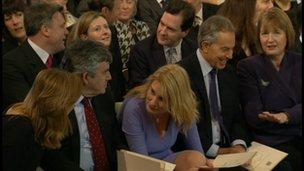 Gordon Brown, Sally Bercow, Tony Blair and Harriet Harman await the Queen's address