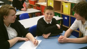 James, centre, was interviewed by Jasmine and Jordon, both Year 8