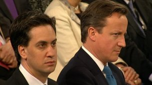 Ed Miliband and David Cameron listening to Commons Speaker John Bercow