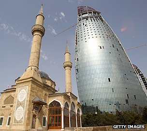 Mosque and sky scraper in Baku