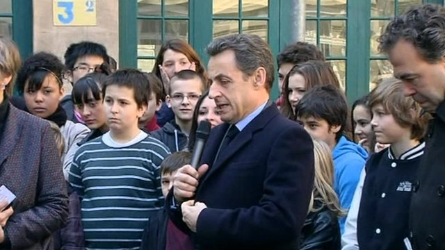 President Sarkozy addresses school children 