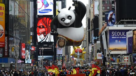 A balloon  of Kung Fu Panda floats in Times Square, New York, in 2010