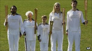 Torchbearers Abul Kasam, Dinah Gould, Dominic John MacGowan, Rosy Ryan and Aidan Kirkwood 