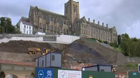Part of Pontio site with Bangor university main building at the top of the hill