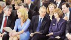 Gordon Brown, Sally Bercow, Tony Blair and Harriet Harman await the Queen's address