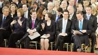 Tony Blair, Harriet Harman, Nick Clegg, Justine and Ed Miliband, and David Cameron await the Queen's address