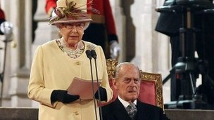 The Queen and Prince Philip in Westminster Hall