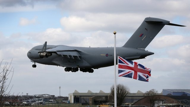 Royal Air Force (RAF) C-17 carrying the bodies of six soldiers lands at RAF Brize Norton