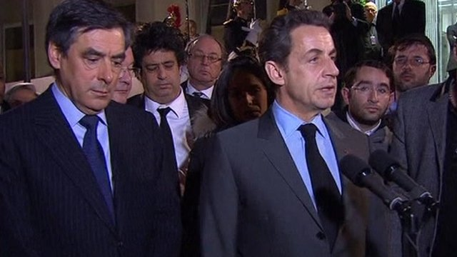 French President Nicolas Sarkozy and French Prime Minister Francois Fillon at Charles de Gaulle
