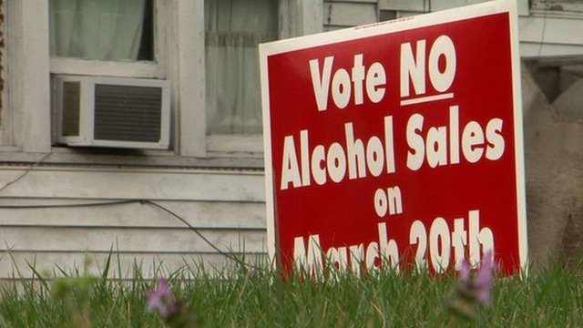 Vote no alcohol sign