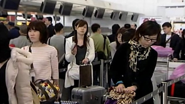Passengers at Hong Kong airport