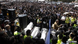 Funeral in Jerusalem for four French-Israeli victims of Toulouse murders - 21 March 2012