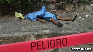 A dead body in Acapulco, Mexico, on 28 February, 2012
