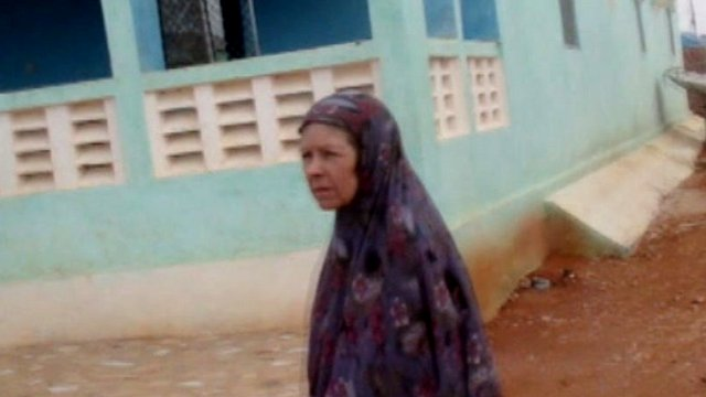 Judith Tebbutt is filmed by the BBC on her release from captivity in Somalia