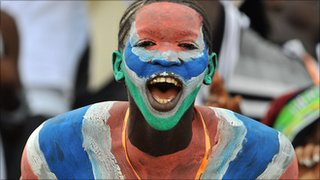 A Gambian football fan