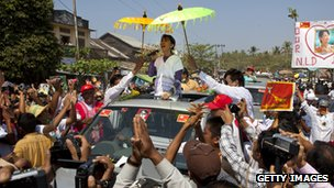 Aung San Suu Kyi campaigning in February in the southern constituency she hopes to represent in parliament