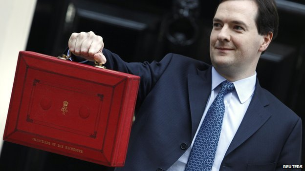 The Chancellor of the Exchequer with his red Budget briefcase