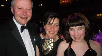 Rosie with BBC Children's controller Joe Godwin (L) and My Autism and Me producer Victoria Bell (C)