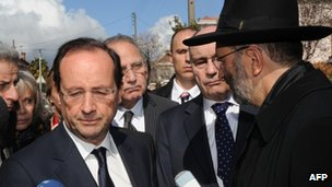Socialist candidate Francois Hollande in Toulouse (19 March 2012)