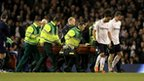 Fabrice Muamba is stretchered form the field at White Hart Lane