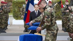 The French president attends the memorial service of three French soldiers killed in south-west France