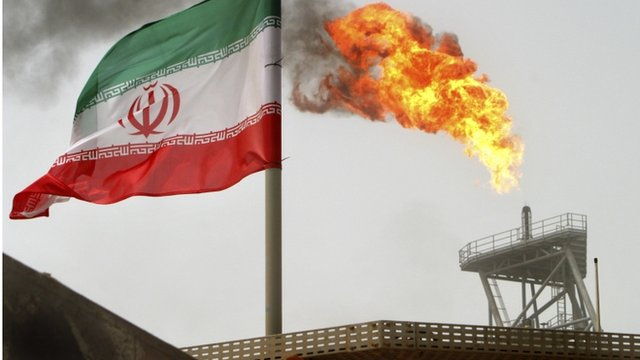 Iran flag and oil production