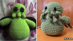 Knitted Cthulhus by Taube Skywalker, left, and Marilyn Mclellan