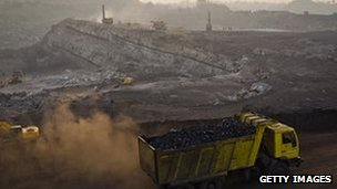 A truck full of coal at an open-cast coal mine in eastern Indian state of Jharkhand.