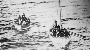 Titanic life boats on way to Carpathia with survivors