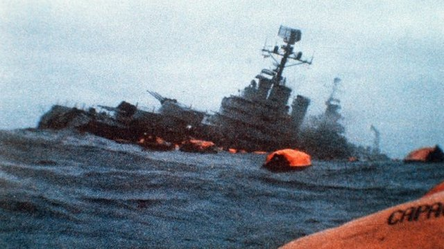 Argentine General Belgrano sinks after being torpedoed
