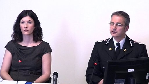 Chief Constable Peter Vaughan and Catherine Llewellyn, from South Wales Police.