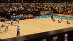 A game of goalball taking place at the Olympic Park