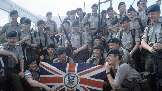 British soldiers prepare to leave for the Falkland Islands