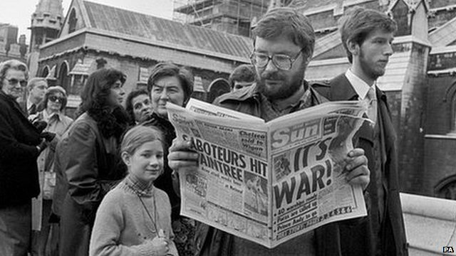 The Sun newspaper with the headline IT'S WAR following the invasion of the Falkland Islands by Argentina, April 3rd 1982