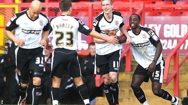 Notts players congratulate Jonathan Forte after one of his goals in the hat-trick against Charlton