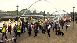 Public sector workers marching