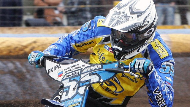 Matej Zagar in action for Eastbourne Eagles
