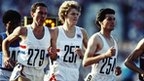 Sebastian Seb Coe of Great Britain leads team mates Steve Cram and Steve Ovett in the final of the 1500 metres at the 1980 Olympic Games at the Lenin Stadium in Moscow, Soviet Union. Coe won the gold medal in a time of 3 minutes 38.4 seconds on 1 August 1980