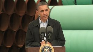 US President Barack Obama orders fast-tracking of Keystone XL pipeline route in Cushing, Oklahoma 22 March 2012