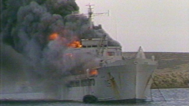 RFA Sir Galahad ablaze at Bluff Cove
