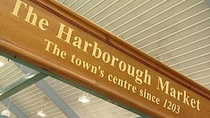 Sign for the Harborough Market