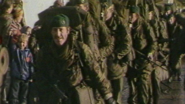 British soldiers enter Port Stanley in June 1982