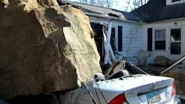 Fallen boulder damages car in Ohio